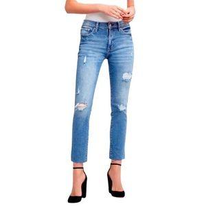 Gap High Rise Slim Straight Distressed Jeans, 30